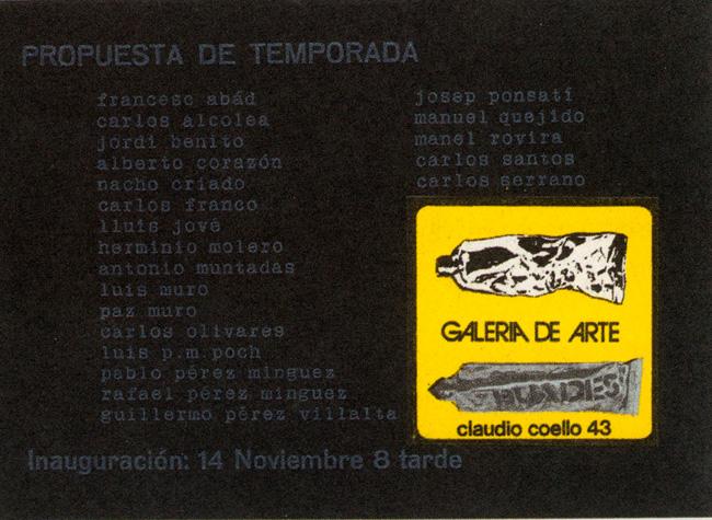 Tarjeta de invitación para la exposición Propuesta de temporada, 1973. Catálogo del Patio Herreriano, p. 25.