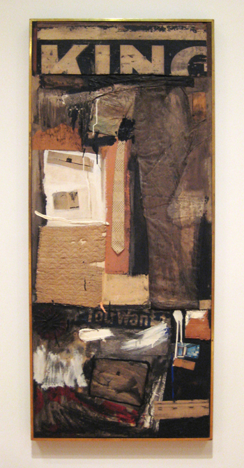 Robert Rauschenberg, KICKBACK, 1959. Combine: oil, paper, printed reproductions, and fabric on canvas with necktie. 194.3 x 84.5 x 12.7 cm. The Museum of Contemporary Art, Los Angeles. The Panza Collection.