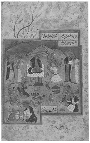 "Imagen 10. Kihamnosaf Nizami, ""El Banquete del Príncipe"". Irán 1574-75, con posteriores alteraciones iconoclastas. India Office Libraly ms 1129, fol. 29. Londres. Foto: The British Library. Fuente: Flood, F. B., ""Between Cult and Culture: Bamiyan, Islamic Iconoclasm, and the Museum"", en The Art Bulletin, vol. 84, nº 4. (diciembre 2002), p. 646"