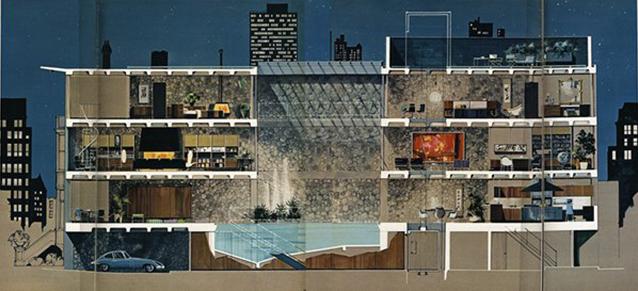 Como se puede ver en la sección del edificio, la vivienda estaba dividida por un espacio abierto central, en cuya base se encontraba la piscina. Es un dispositivo de rotación que creaba dos espacios totalmente diferenciados, permitiendo al inquilino llevar una doble vida.